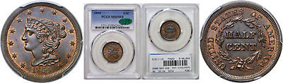 1854 Half Cent PCGS MS-65 RB CAC