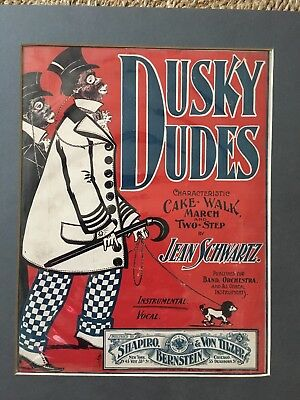 1899 Dusky Dudes Orig Sheet Music Rag Cake-Walk Two-Step Black Americana