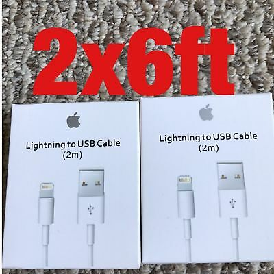 2 x 6 FT Cable White USB Data Cord for iPhone 7 Plus 6S 6 SE 5CES Sync Charging