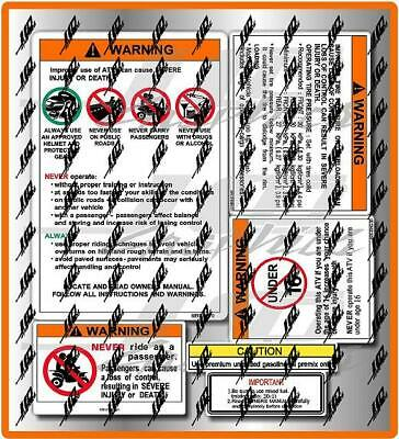 yamaha banshee warning decals stickers labels