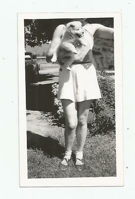 1930's CHOW CHOW PUPPY DOG  WOMAN GIRL LEGS BROKEN SHOES BOBBY SOCKS OLD CAR