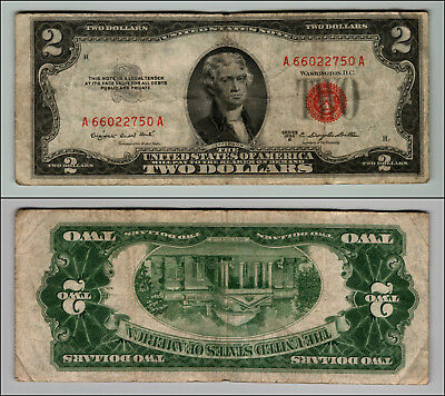 1953B $2 Dollar Bill  Us Note Legal Tender Paper Money Currency Red Seal P761