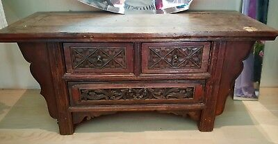 Antique Chinese Carved Kang Table Shanxi Province 3 Drawers MAKE OFFER