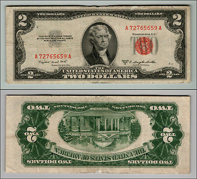 1953B $2 Dollar Bill Old Us Note Legal Tender Paper Money Currency Red Seal W497