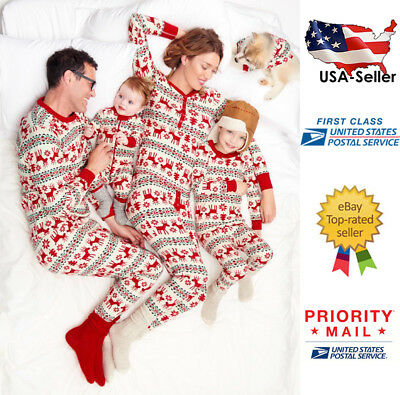 Family Matching Christmas Pajama Set Mom Dad Women Men Baby Kids Deer Sleepwear