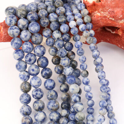 """15"""" Natural Blue Spot Gemstone Stone Loose Spacer Beads Jewelry Findings 4-10MM"""