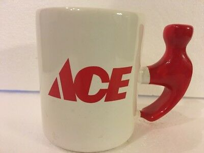 Rare Ace Hardware Ceramic Coffee Mug Cup Red Hammer Shaped Handle Made In USA