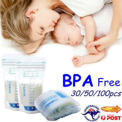 250ml Pre-sterilised Baby Breast Milk Storage Freezing Bags Pouch BPA Free AU
