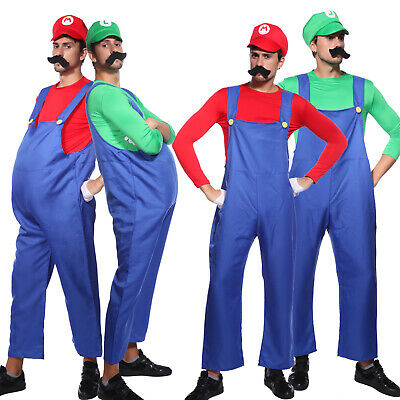 Super Mario Bros Mens Fancy Dress Video Game Adults Costume Outfit
