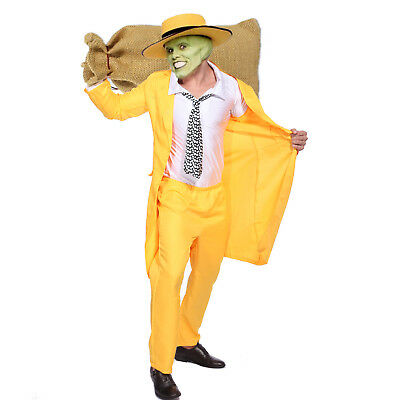 The Mask Jim Costume 90s Fancy Dress Yellow Gangster Zoot Suit Mens Outfit