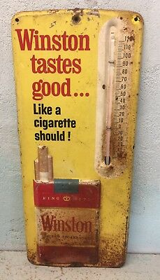 A Fantastic Old Original Winston Metal Embossed Thermometer Sign