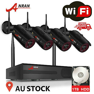 ANRAN 4CH 1080P NVR Outdoor Wireless Security System 4x2MP WiFi IP Camera 1TB HD