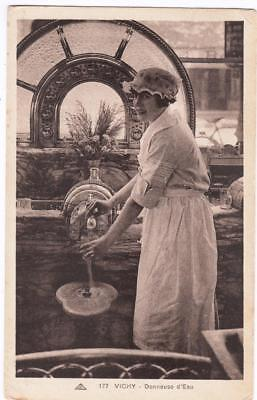 "Vintage Postcard,vichy,france,woman Dispenses Vichy Water,1932,""vichy Allier"""