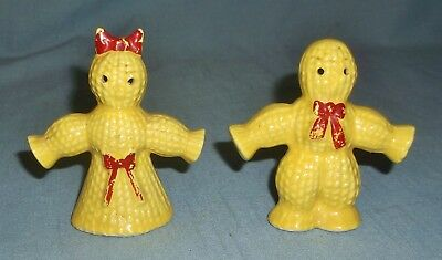 Vintage Porcelain Corn Wheat Straw Sheath Scarecrow People Salt & Pepper Shakers