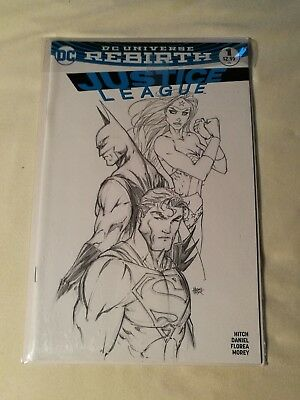 Justice Leauge #1 Dc Rebirth Turner Black And White Cover