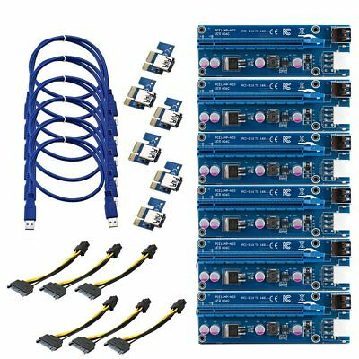 6X USB 3.0 PCI-E 1X-16X Extender Riser Card Adapter Power Cable ETH BTC Mining