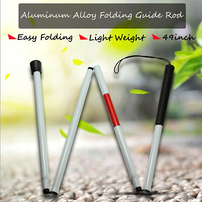 """49"""" Visually Impaired Folding Blind Cane Walking Stick Wrist Strap Reflector Mh"""