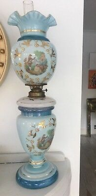 victorian blue glass painted oil lamp gilded