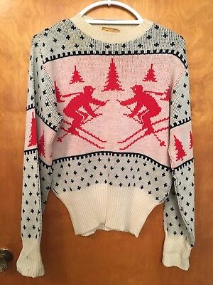 Vintage 1950s Women's Red Gray Wool Xmas Sweater Downhill Skiers CUTE NOT UGLY!
