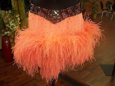 Latin Skirt Coral with Black Lace, Ostrich feathers and Top