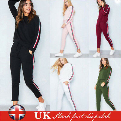 2017 2Pcs Womens Tracksuit Hoodies Sweatshirt Pants Set Lounge Wear Sport Suit