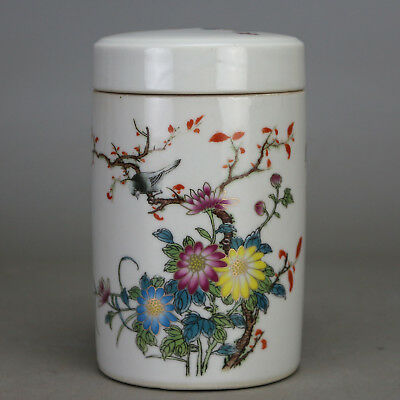 China old porcelain  famille rose  glaze bird & flower pattern  tea caddy