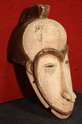 GRANDE SCULPTURE AFRICAN WOOD PAINTED MASK COLLECTIBLES FIRST '900 H 54 cm