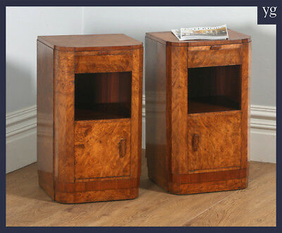 Antique Pair Art Deco Burr Walnut Bedside Cupboards Cabinets Chests Night Stands