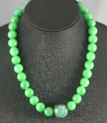 Exquisite Stunning Vintage Chinese Necklace Made With Large Jade Prayer Beads