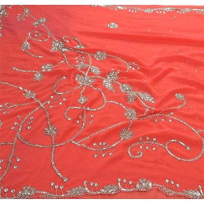 Sanskriti Vintage Indian Cultural Saree Georgette Hand Beaded Fabric