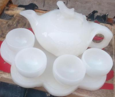 100% pure natural handmade Afghanistan jade cup and tea pot bird lid