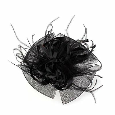 Federn Organza Blumen Netz Stirnband Schwarz Fashion Party J4