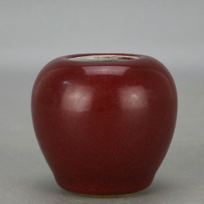 China old hand-carved porcelain red glaze apple form writing-brush washer