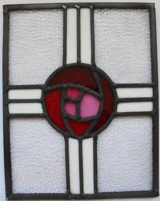 Stained Glass Panel .Traditional Macintosh rose .