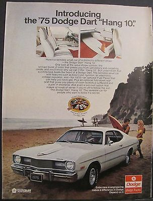 1974 1975 Dodge Dart Hang 10 Hairy Chest Surfer White