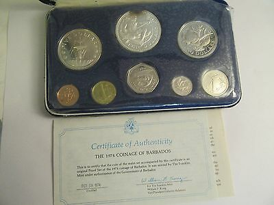 1974 Barbados 8 Coin Proof Set, Mint Package & COA,  2 Silver Coins