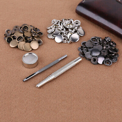 30 Sets 15mm Press Studs Snaps S Spring Popper Fasteners Sewing Leather Craft
