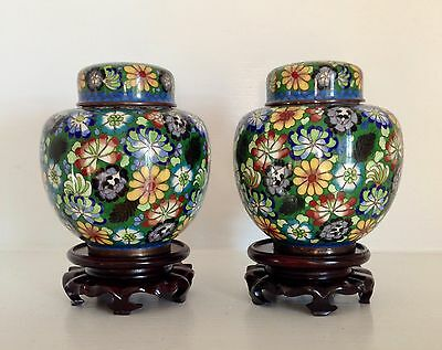 Pair Marked Old CHINA Chinese Cloisonne Ginger Jars Lids ~Mille Fleur ~Stands