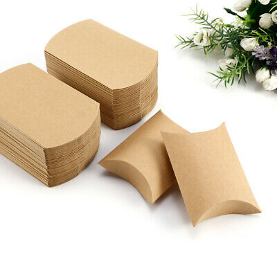 Eco Kraft Card carry Boxes, Gift or Wedding Favour Boxes, Pillow Shape 50 100