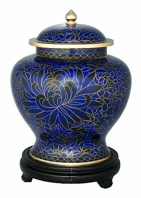 Large/Adult 220 cubic inches Royal Blue Cloisonne Cremation Urn for Ashes