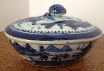 Late 1800s Chinese Nanking Pattern Porcelain Covered Bowl w/Platter