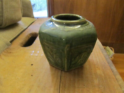 Vintage Chinese Hexagonal Green Glazed Ginger Jar