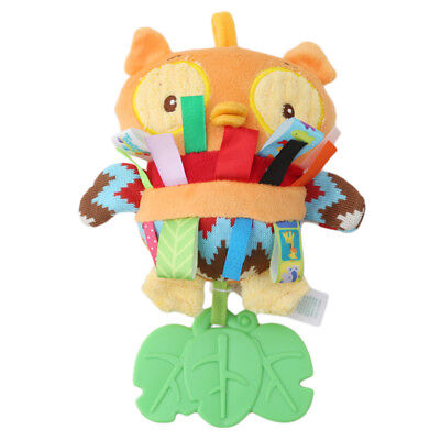 Lovely Animal Silicone Owl Baby Rattle Teething Plush Toy Teether Crib Toy New