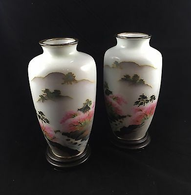 "Vintage Signed Facing Pair Japanese Cloisonne Vases Part Wireless 7.5"" H"