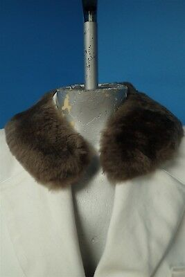 03537 Soft Gray Taupe Mouton Real Fur Collar Scarf
