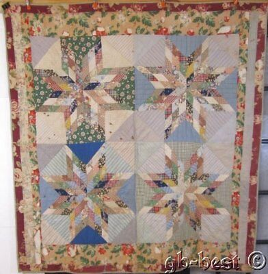"Lancaster Co FARMhouse c  PA 1930s Touching Stars VINTAGE Quilt ""Pieced"""