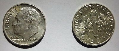 Roll of 50 1964 US Silver Dimes- $5 Face Value