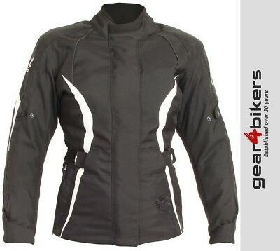 RST Diva 3 Black White Ladies Motorcycle Textile Jacket Womens Warm Dry Lady
