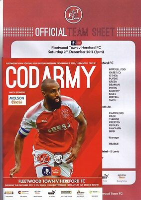 Fleetwood Town v Hereford FA Cup 2017-18 programme & team sheet