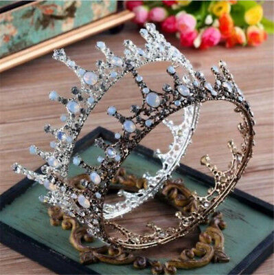 Antique Copper Crystal Wedding Bridal Party Prom Queen Princess Crown Headdress